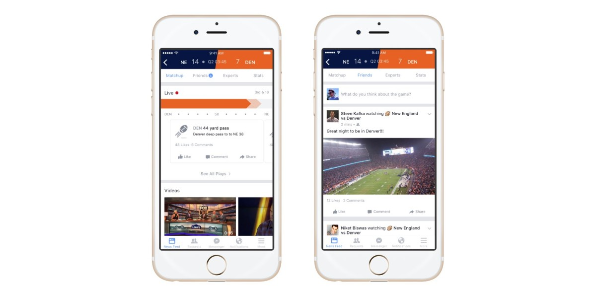 Facebook now has a place for sports fans to trash talk their friends over live updates