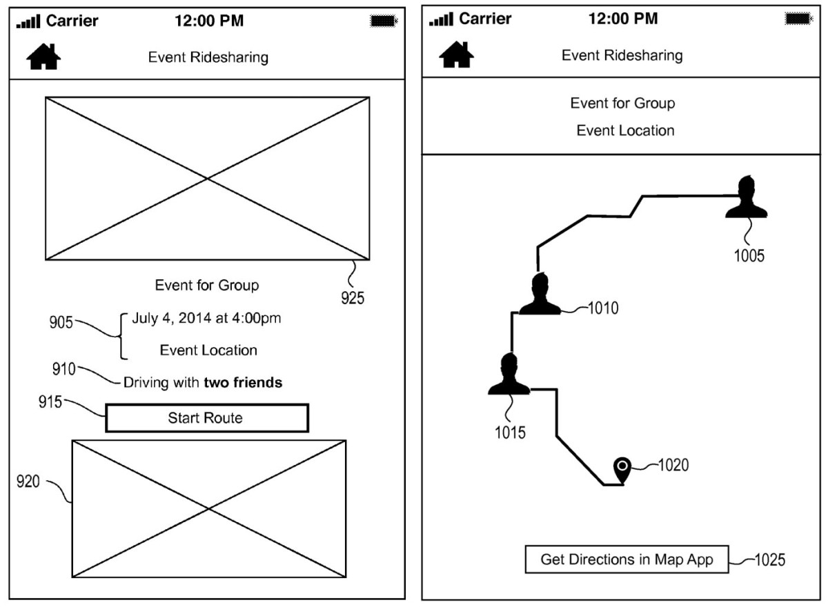 Facebook's proposed ridesharing UI for events.