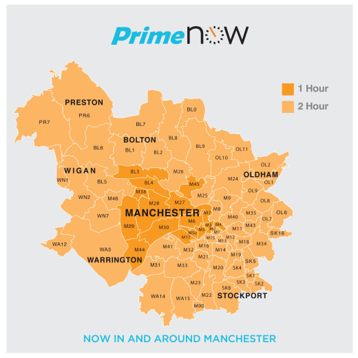Amazon one-hour delivery is constrained by factors like warehouse location and traffic patterns.