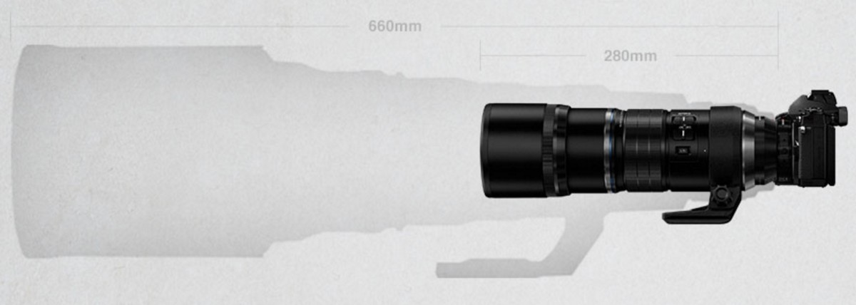 Olympus' lens is much smaller than equivalent lenses on other systems