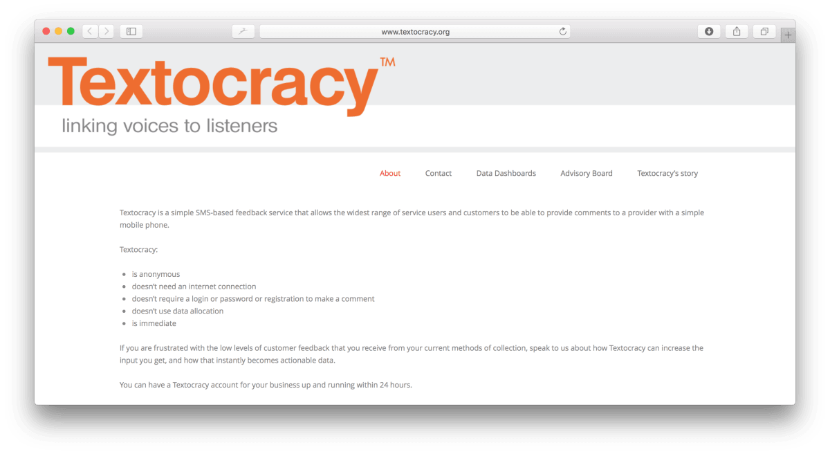 Textocracy's homepage keeps things simple.