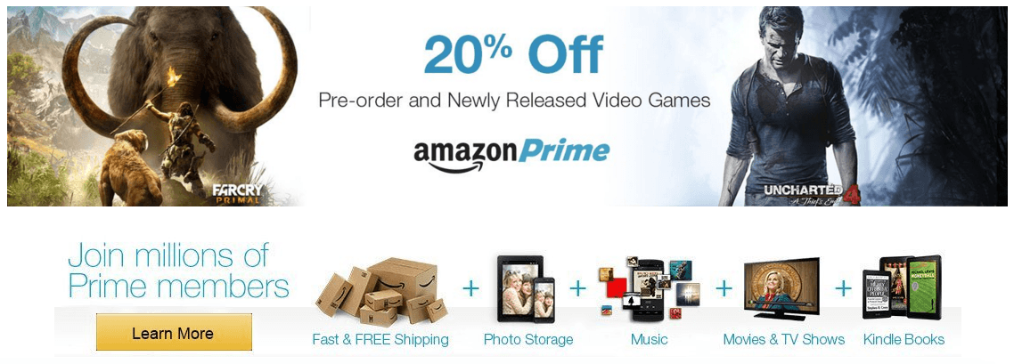 Amazon Prime users now get 20% off pre-ordered and newly released games