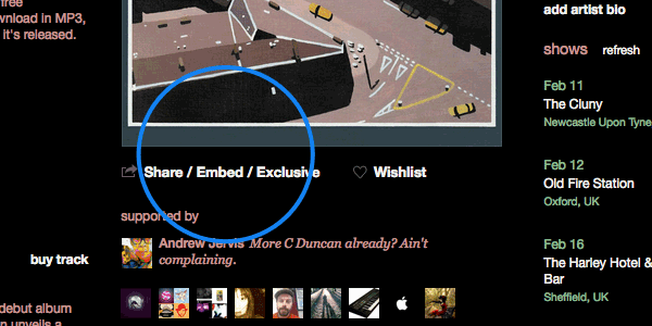 Bandcamp's exclusive embeds let artists activate streaming on specific websites