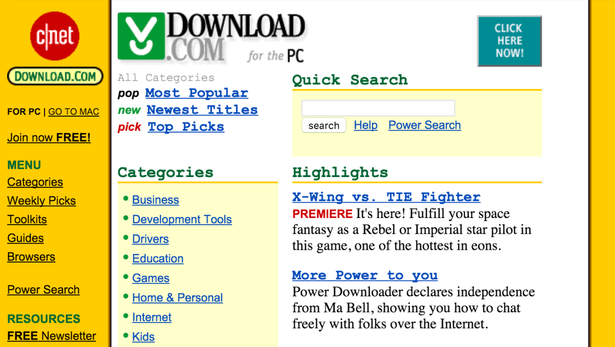 An early Download.com homepage, in 1997.