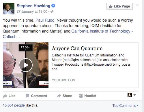 Stephen Hawking Facebook