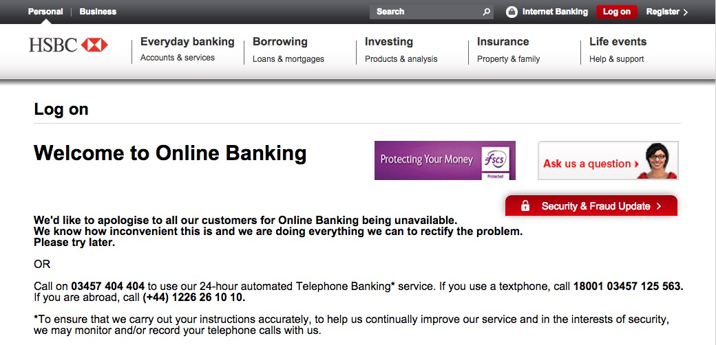 HSBC online banking and app knocked offline after attack