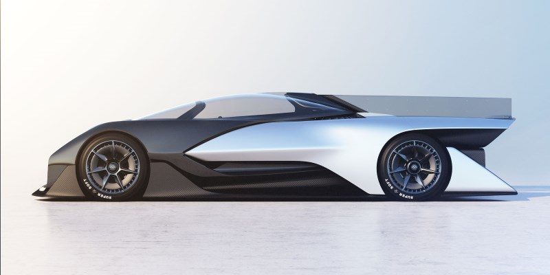 The FFZero1 features aggressive aerodynamic styling on its exterior