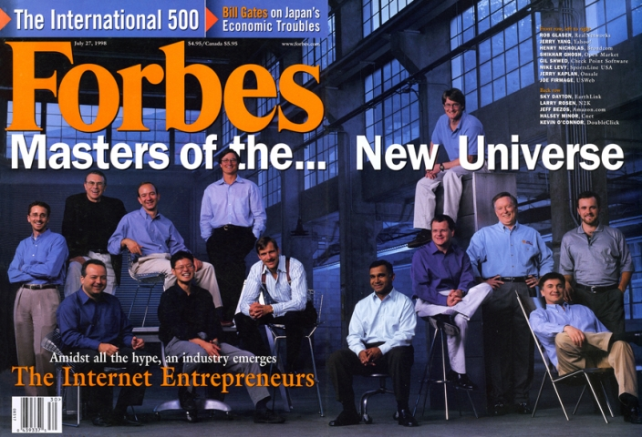 Halsey Minor on the cover of Forbes magazine in 1998.