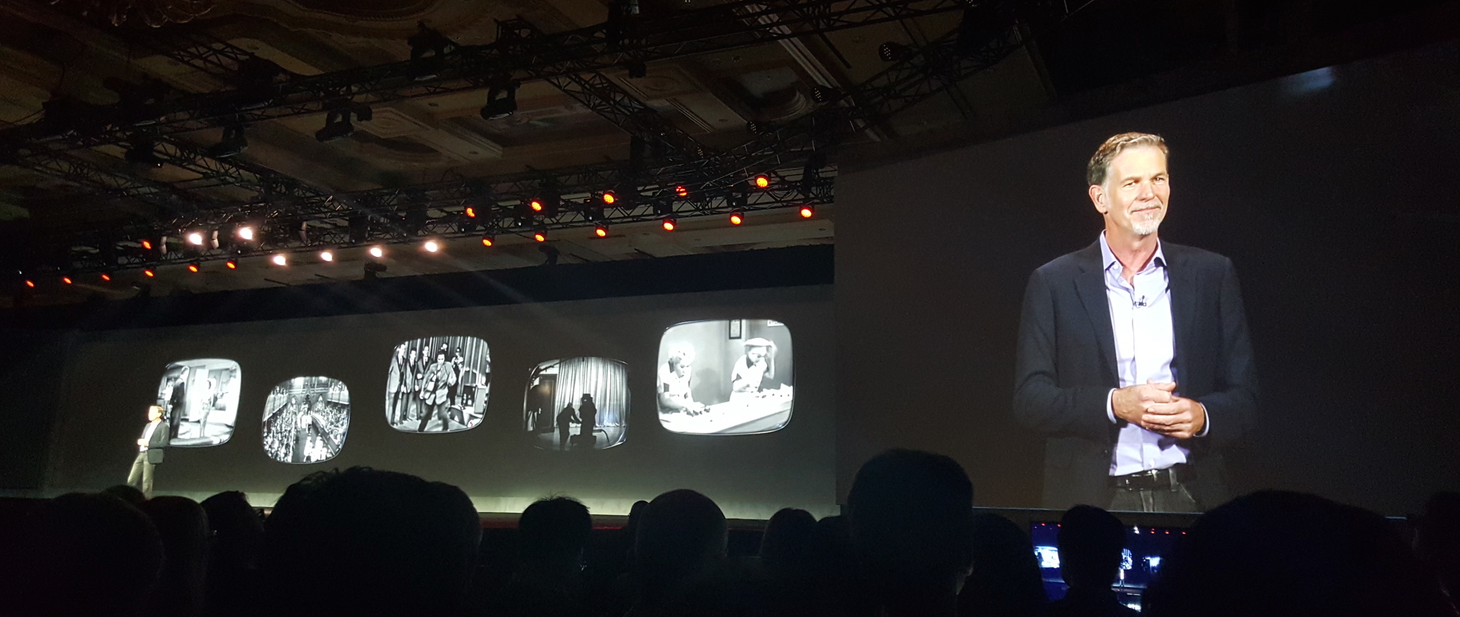 Reed Hastings on stage at the opening CES keynote.