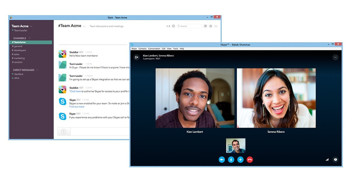 You can now start Skype calls from Slack