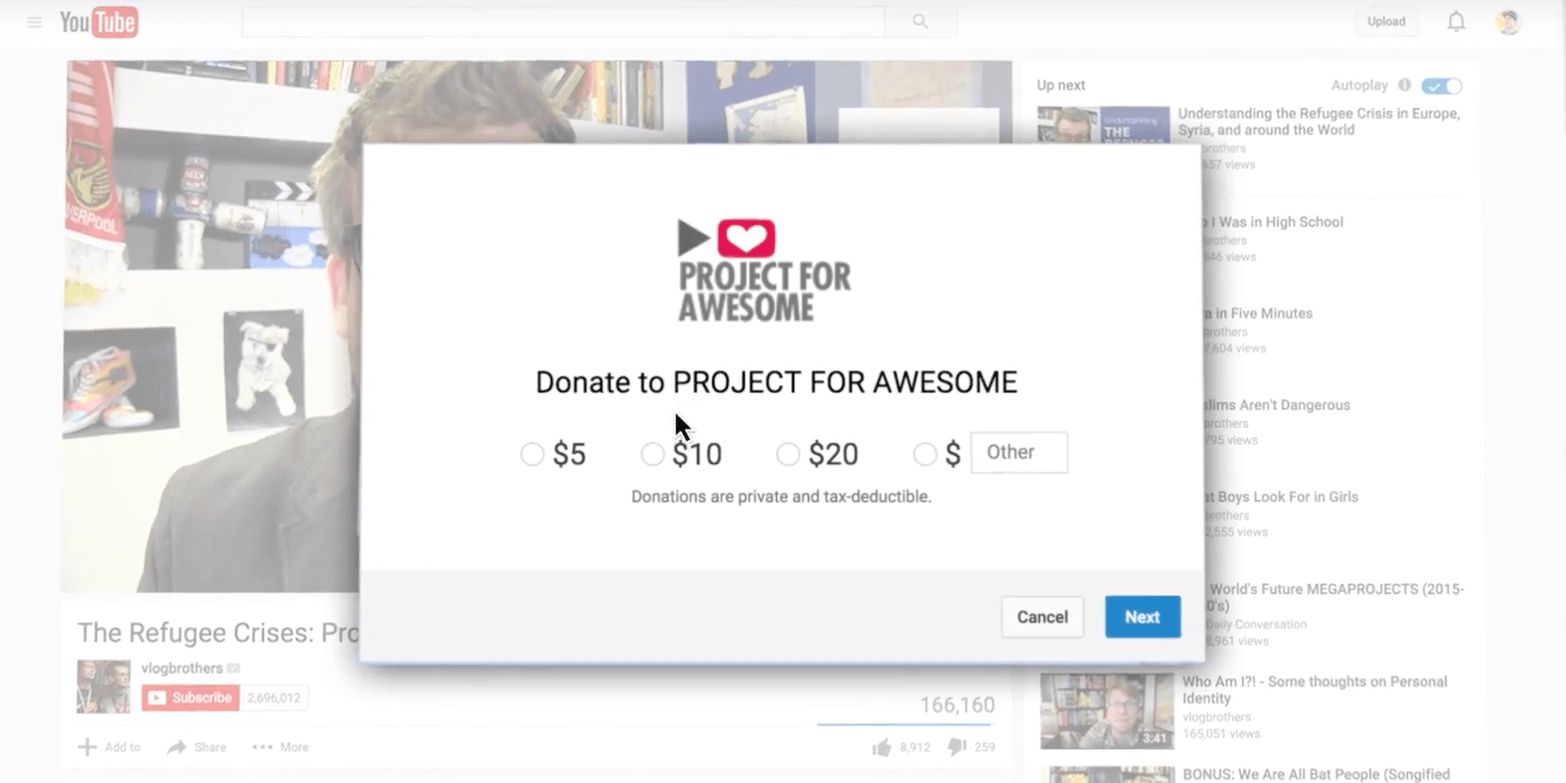 YouTube donation cards allow video creators to raise money for charity