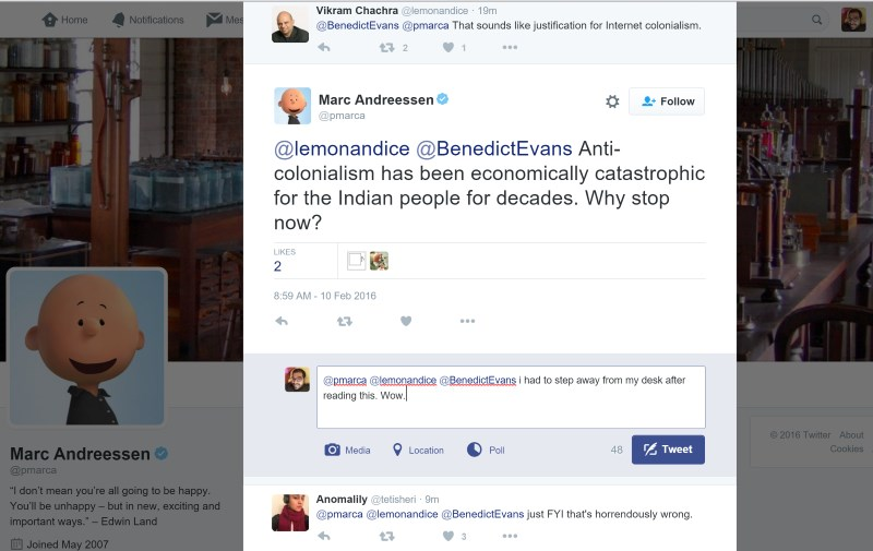 Andreessen's tweet did not go down well with Indians or anyone else for that matter