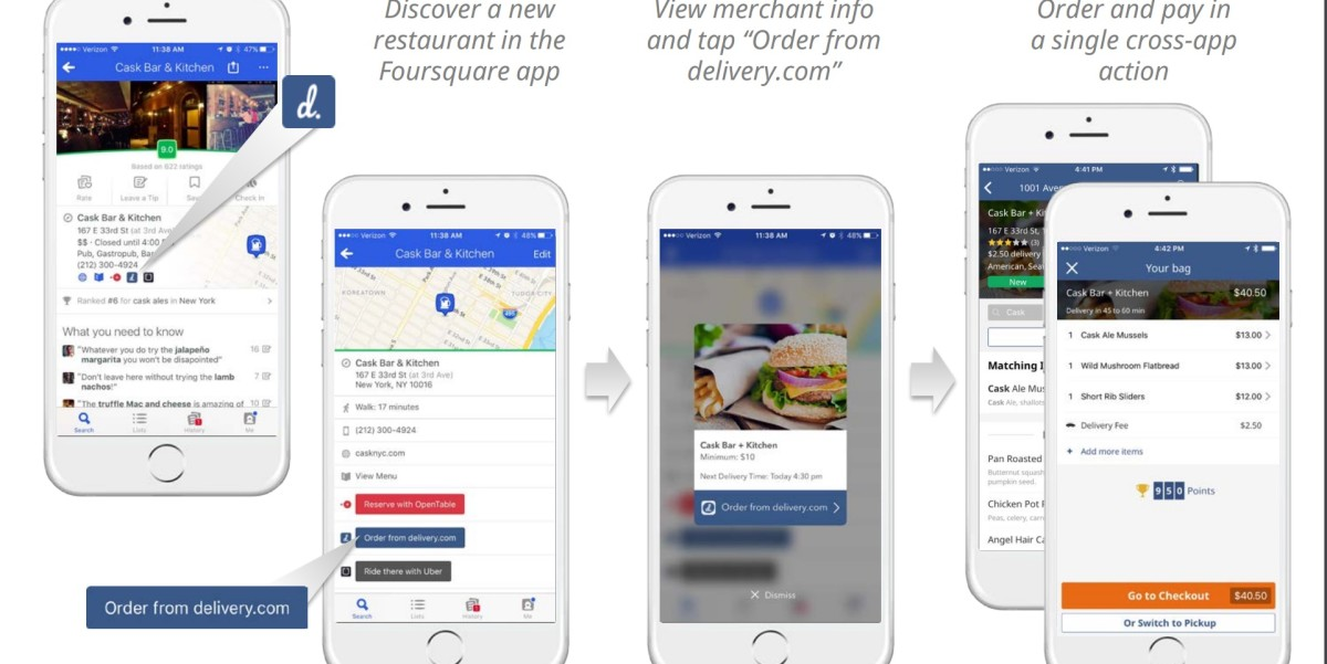 Foursquare adds deep-linking integration with Delivery.com