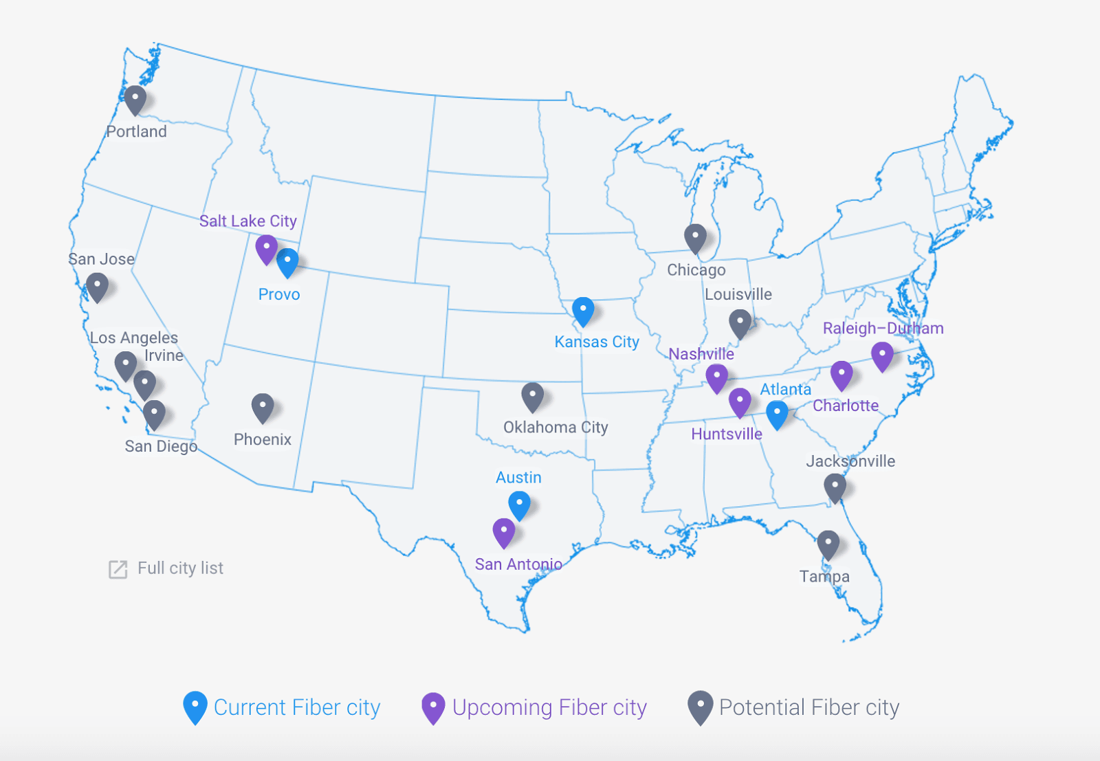 Rocket City Will Be The First In The US To Build A New Google - Us fiber map