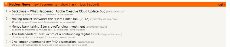 Hacker News' layout was inspired by the UNIX utility Top