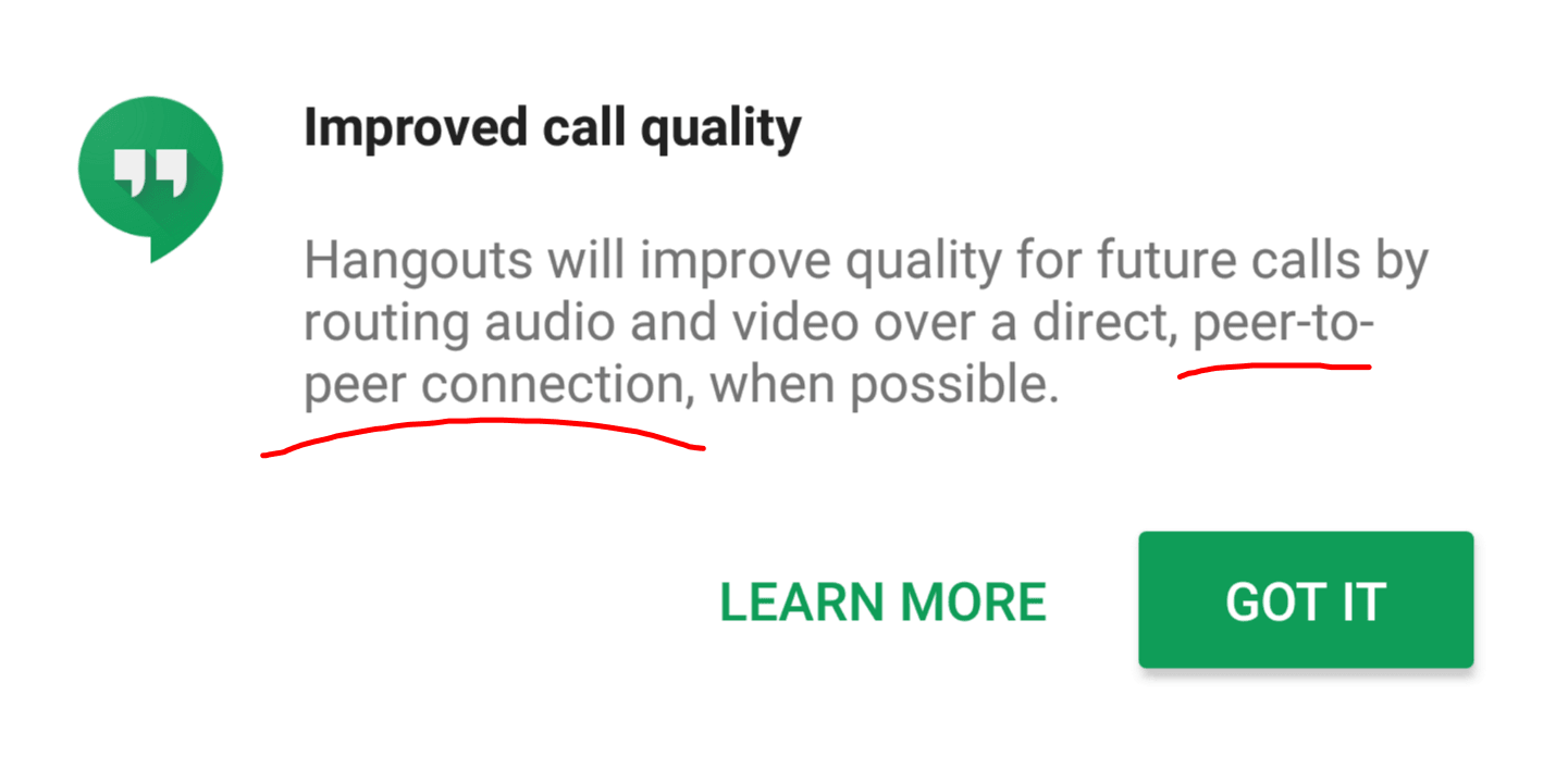 Google Hangouts is getting better call quality thanks to p2p networks