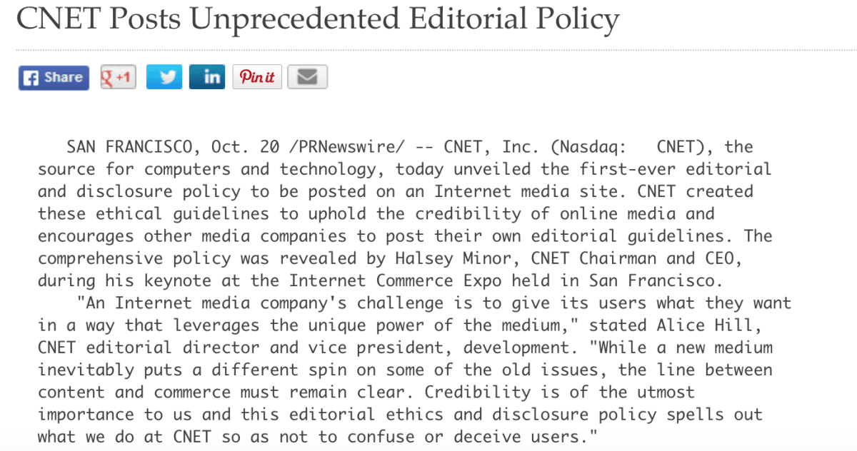 Part of CNET's 1999 press release announcing its 'church and state' policy.