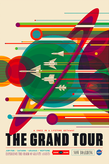 The Grand Tour offers a journey from earth to Jupiter, Saturn, Uranus and Neptune, but only every 175 years so it really is a once in a lifetime opportunity. The poster is essentially showcasing a holiday version of NASA's Voyager mission, which used the once-every-175-year alignment of the planets to go on its own grand tour of our solar system.