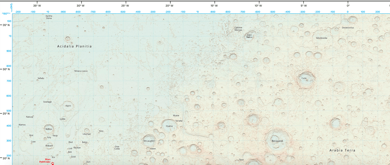 Now you can explore Mars using this official map