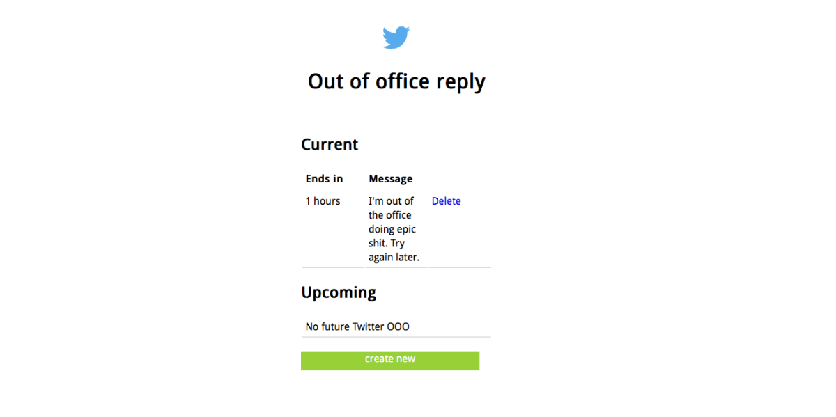 This simple Twitter app gives you a custom out of office response to tweets