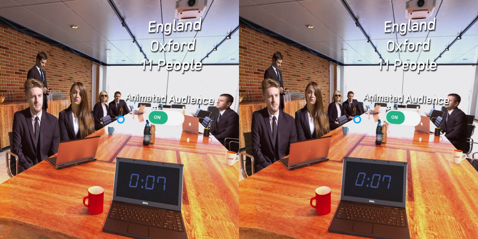 The app puts your in a conference room or auditorium complete with presentation screen, timer and audience