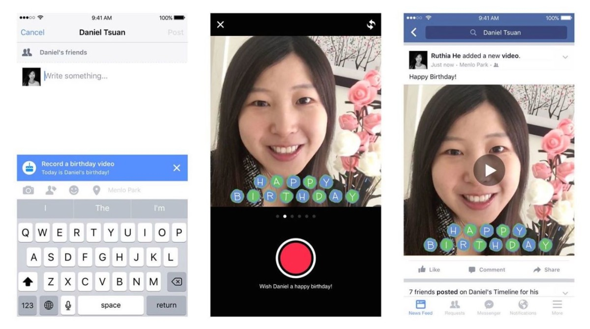 Facebook's 'Birthday Video Cam' nudges you to say something more than HBD