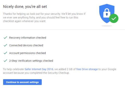 google-checkup-success
