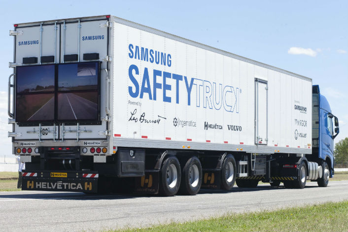 Samsung is actually building trucks with screens on the back so drivers can see the road ahead