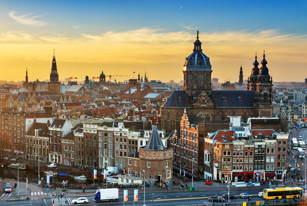 Panoramic view of Amsterdam at sunset