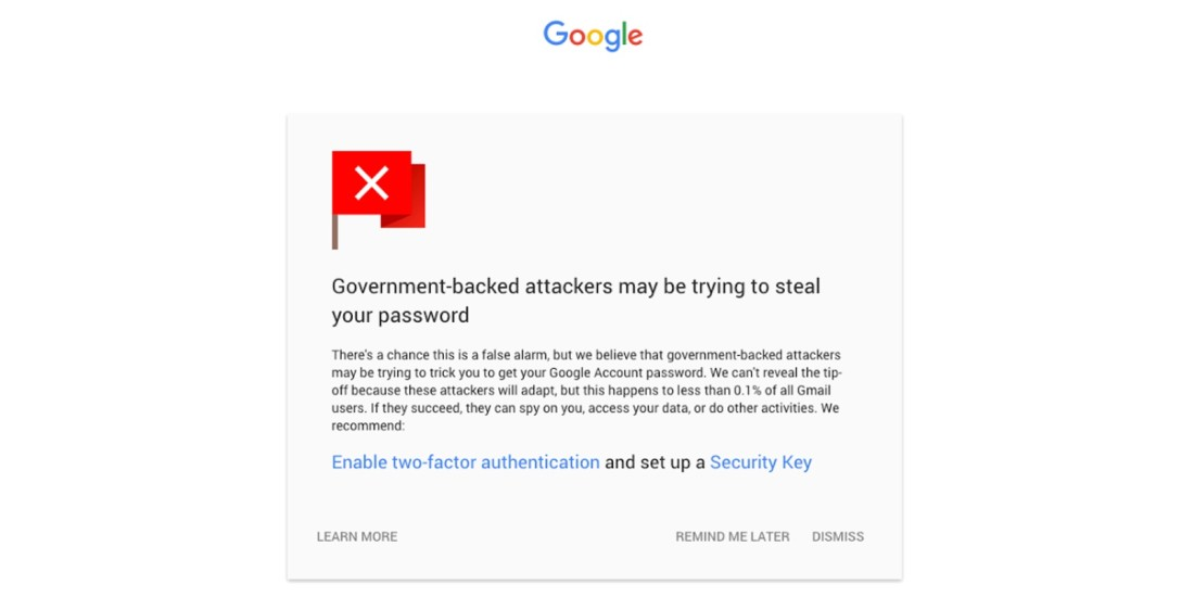 Google's new notifications for Gmail warn you of security risks