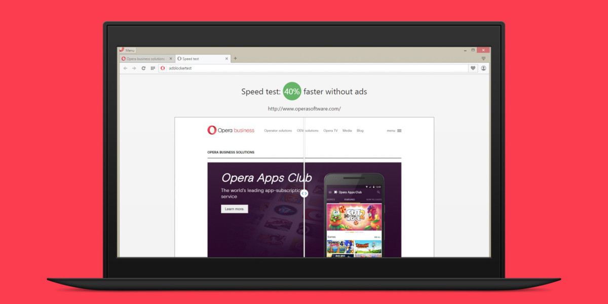 Opera's browser has a built-in adblocker that works better than extensions
