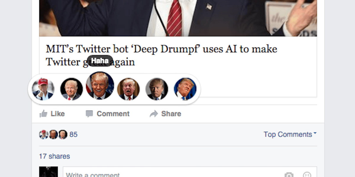 This Facebook plugin lets you swap out reactions for Trump or Pokémon