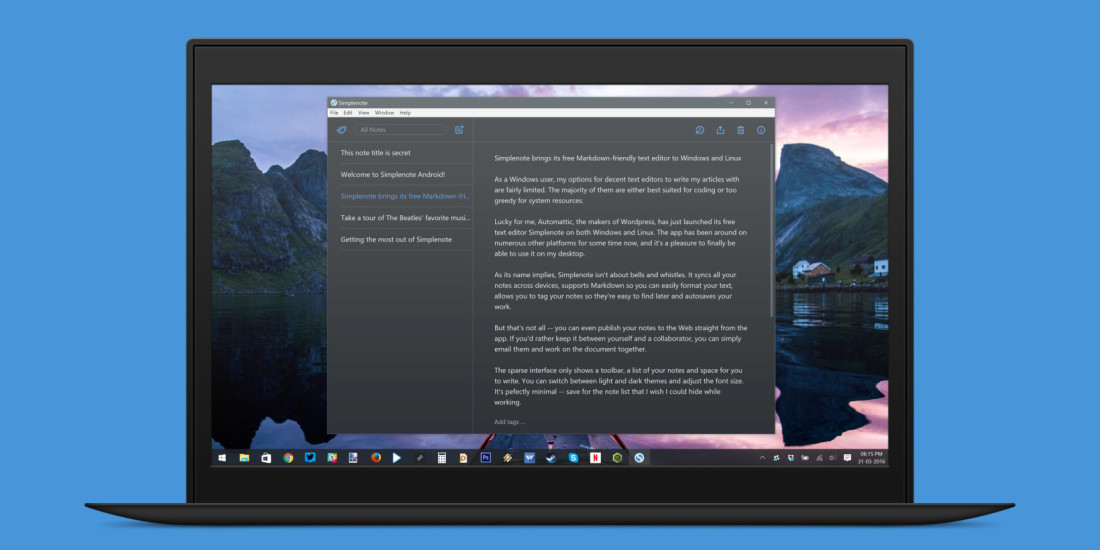 Markdown-friendly Simplenote comes to Windows and Linux