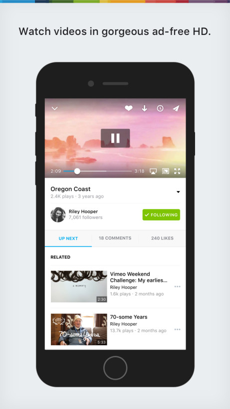 Vimeo for iOS has been totally redesigned and rebuilt using Swift