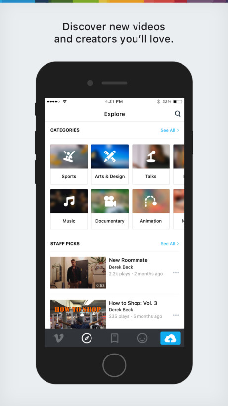 Vimeo for iOS has been totally redesigned and rebuilt using