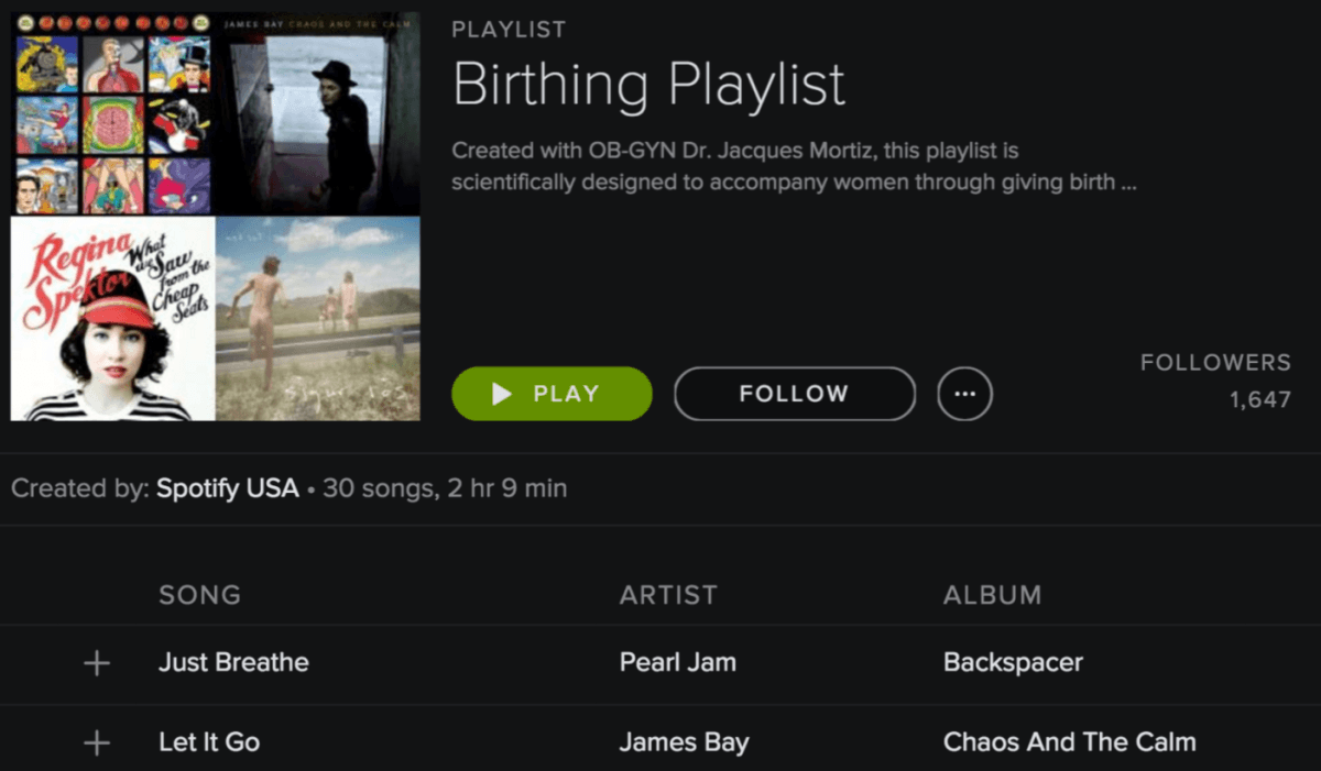 Spotify's 'birthing playlist' might be the best form of birth control yet