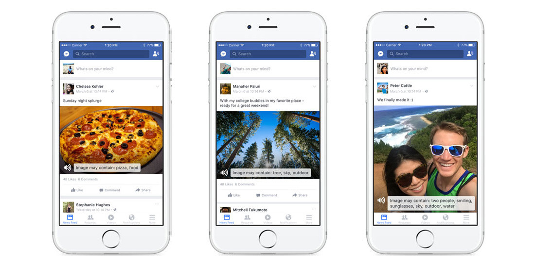 Facebook's iOS app now uses AI to help the blind 'see' photos
