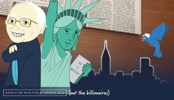 Bernie Sanders' Snapchat geofilter tries to get NY millennials voting, but we know that won't ...