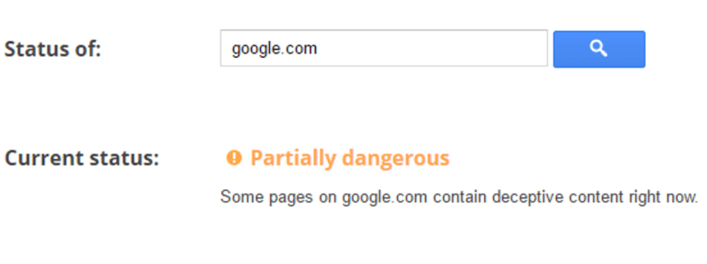 Google is currently listing Google.com as a partially dangerous domain