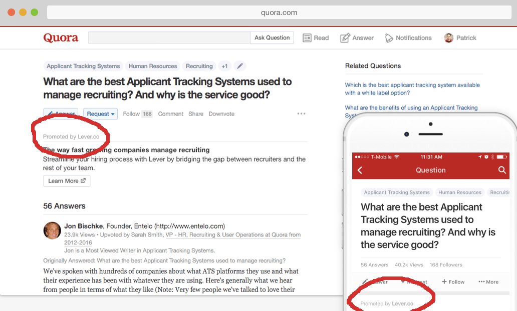 How do you feel about ads on Quora?
