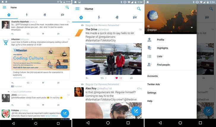 Twitter for Android may soon have a new Material Design look