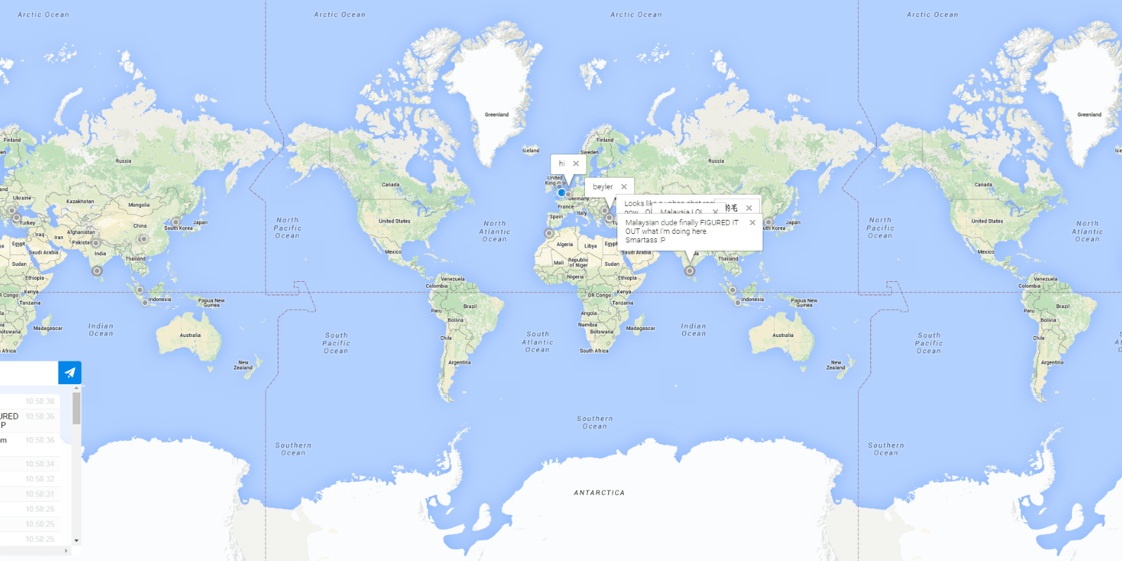This page lets you chat anonymously to people all over the world