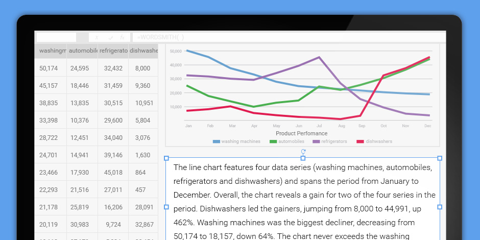 Wordsmith for Excel turns your charts into reports on-the-fly