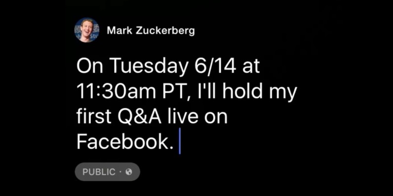 Mark Zuckerberg is doing his first-ever Facebook Live Q&A on June 14