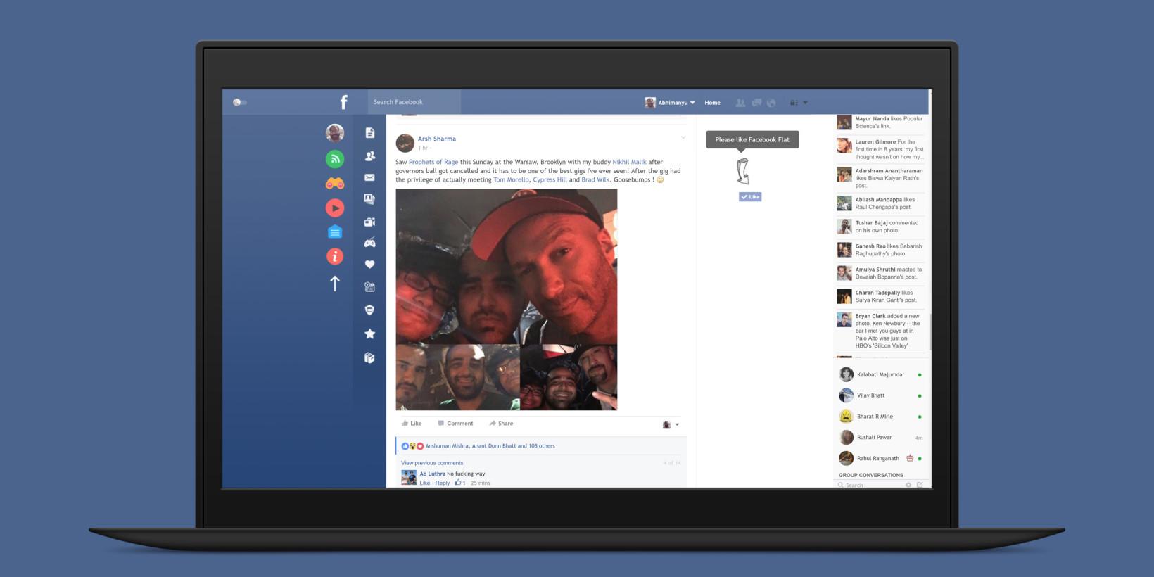 Flatbook for Chrome cleans up Facebook's messy desktop UI