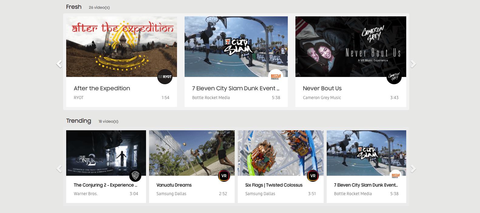 Samsung has a dedicated VR video Website
