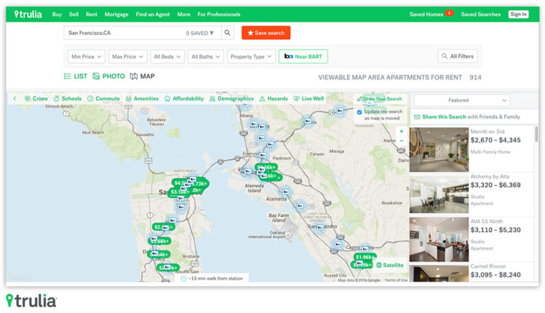 Trulia's 'Rent Near Transit' filter finds great rentals with good commutes