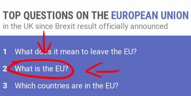 UK reassuringly asks Google 'What is the EU?' after voting to leave the EU