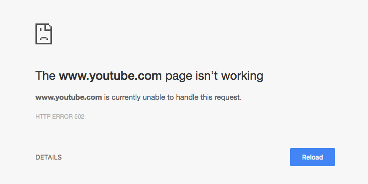 YouTube was down for the first time in ages