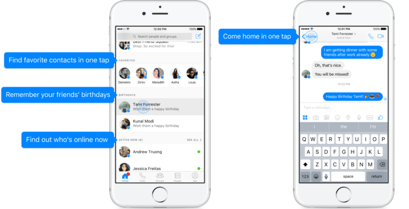 Facebook Messenger's redesign adds Home, Favorites, and Birthday reminder tabs
